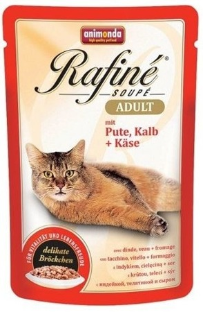 ANIMONDA Cat Rafine Soupe Adult krocan &  telecí +sýr 100g