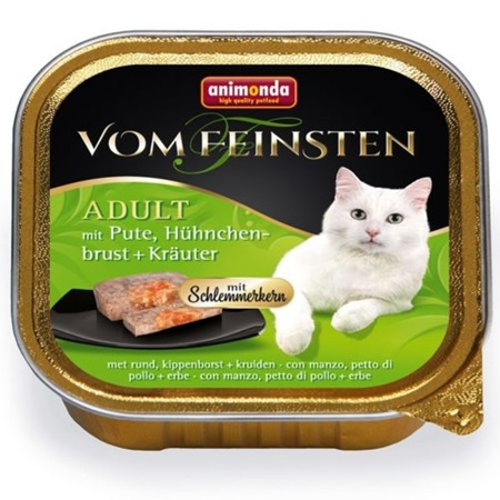 ANIMONDA Cat Vom Feinsten pro dospělé s náplní: krůtí, kuřecí prsa a bylinky 100g
