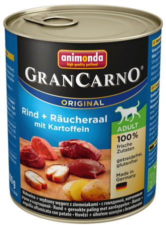 Animonda Dog konzerva GRANCARNO Adult - hovězí + úhořem uzený s bramborami 800g
