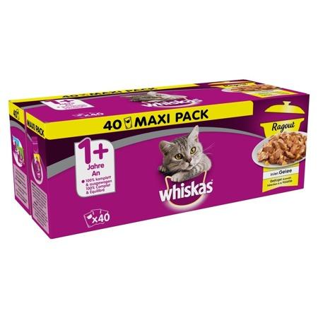 WHISKAS Adult 40x85g Drůbeží příchutě - mokré krmivo pro kočky v želé (kuře, kachna, drůbež, krůta)